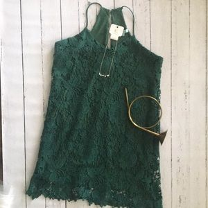 Lace dress *gorgeous emerald green* with necklace